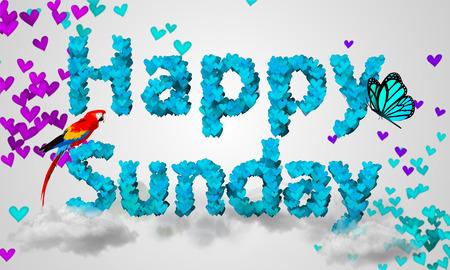 Happy Sunday Particles blue Heart Shape 3D photo