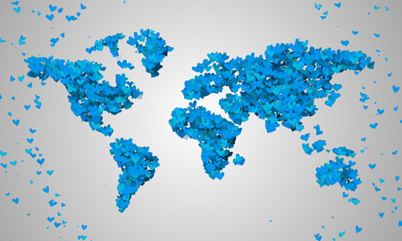 World Map Blue Love Shape Particles photo