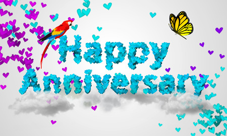 Happy Anniversary Blue Heart Shape 3D Stock Photo