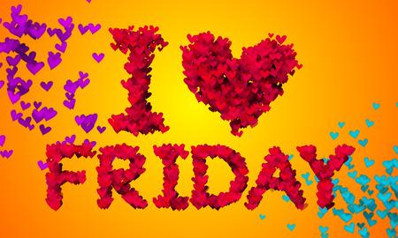 I love Friday Particles Heart Shape 3D orange background Stock Photo