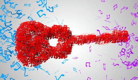 musical note: Guitar Musical Note Particles 3D