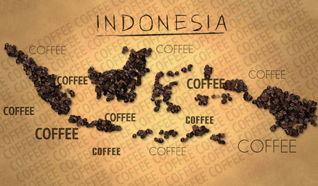 Indonesia map Coffee Bean producer on Old Paper photo