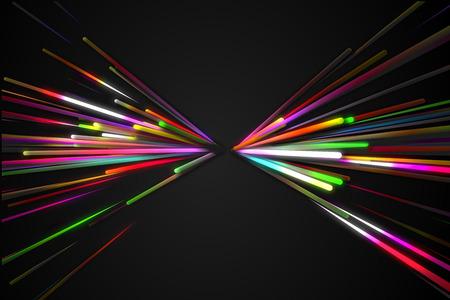 vj: Arcobaleno triangolo rettilineo di figura della farfalla Sfondo Linea Glow Scuro Archivio Fotografico