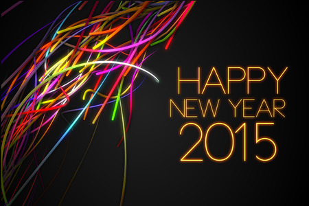 2015 Happy New Year Strands Line Glow Dark Background photo