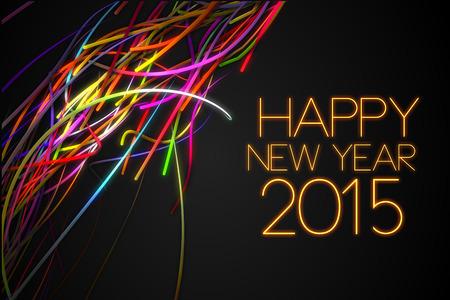 2015 Happy New Year Strands Line Glow Dark Background Stock Photo