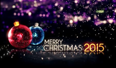 Merry Christmas 2015 Night Bokeh Beautiful 3D Purple Background