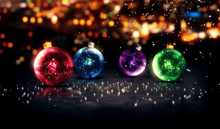 Baubles Christmas Night Bokeh Beautiful 3D Background Red Blue Purple Green