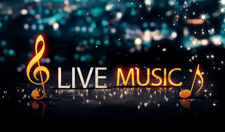 musical symbol: Live Music Gold Silver City Bokeh Star Shine Blue Background 3D Stock Photo