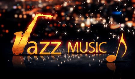 ジャズ音楽サックス ゴールド都市ボケ星輝く黄色の背景 3 D