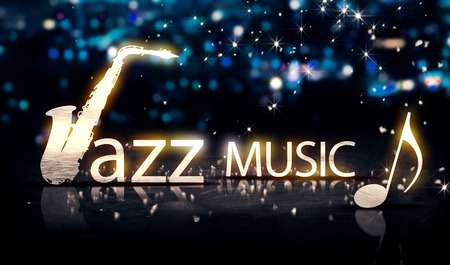 Jazz Music Saxophone Silver City Bokeh Star Shine Blue Background 3D