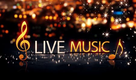 Live Music Gold Silver City Bokeh Star Shine Yellow Background 3D photo