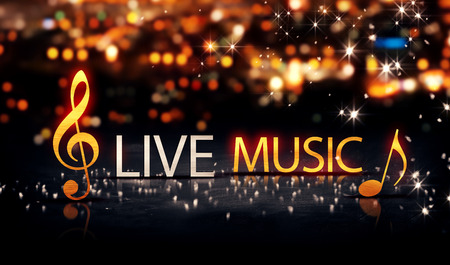live music: Live Music Gold Silver City Bokeh Star Shine Yellow Background 3D