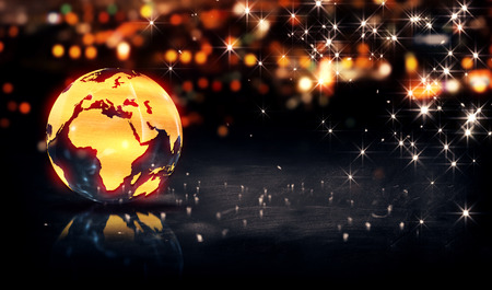 Globe Glass Crystal Gold City Light Shine Bokeh 3D Background Stockfoto