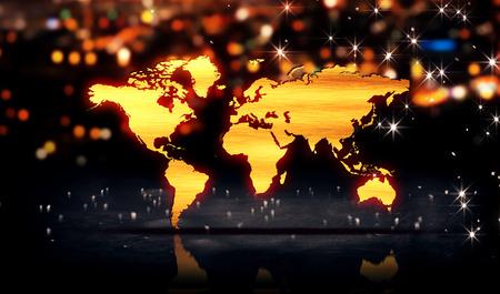 World Map Gold City Light Shine Bokeh 3D Background