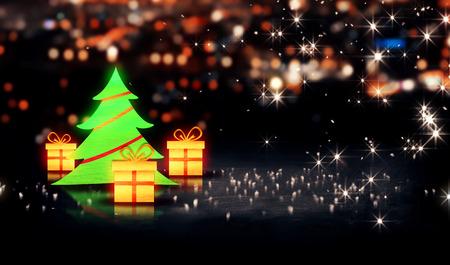 Christmas Tree Gift 3D Shine City Bokeh Background photo