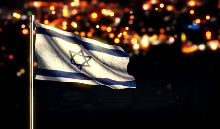 Israel National Flag City Light Night Bokeh Background 3D Stock Photo
