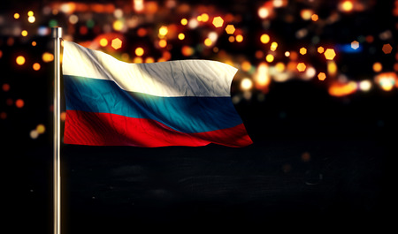 Russia Flag City Light Night Bokeh Background 3D Stock Photo