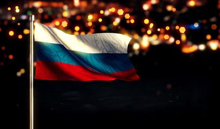 city light: Russia Flag City Light Night Bokeh Background 3D Stock Photo