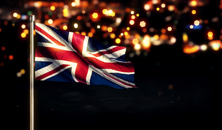 England UK National Flag City Light Night Bokeh Background 3D photo