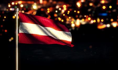 Austria National Flag City Light Night Bokeh Background 3D photo