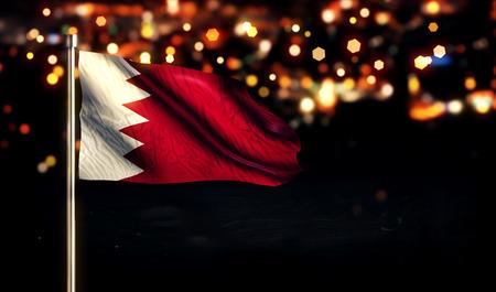Bahrain National Flag City Light Night Bokeh Background 3D photo
