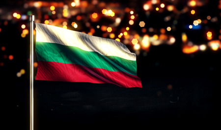 Bulgaria National Flag City Light Night Bokeh Background 3D photo