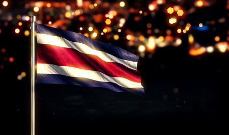 Costa Rica National Flag City Light Night Bokeh Background 3D