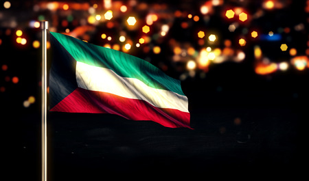 independencia: Bandera nacional de Kuwait City Light Night Bokeh 3D