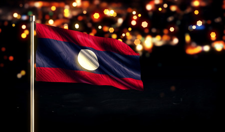 Laos National Flag City Light Night Bokeh Background 3D photo