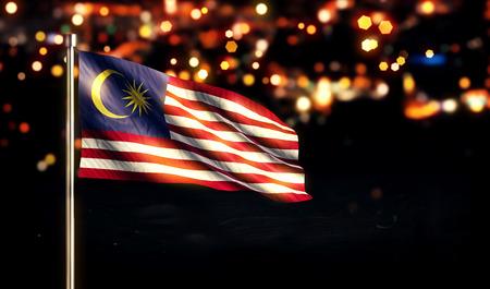 말레이시아 국기 도시 밤 빛 bokeh 배경의 3D 스톡 콘텐츠