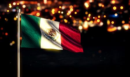 メキシコシティ国立旗光夜背景のボケ味の 3D