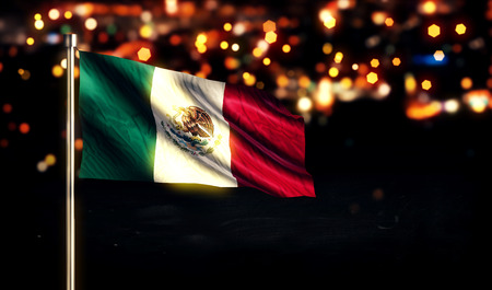 Mexico National Flag City Light Night Bokeh Background 3D Stock Photo