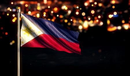 Philippines National Flag City Light Night Bokeh Background 3D photo