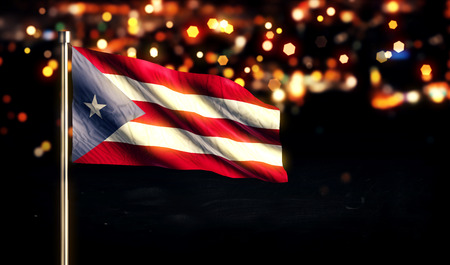puerto rican flag: Puerto Rico National Flag City Light Night Bokeh Background 3D Stock Photo