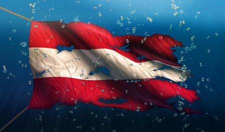 Austria Under Water Sea Flag National Torn Bubble 3D photo