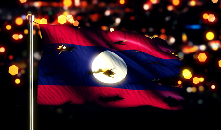 Laos National Flag Torn Burned War Freedom Night 3D photo