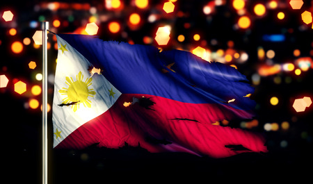 Philippines National Flag Torn Burned War Freedom Night 3D photo