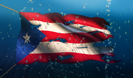 puerto rican flag: Puerto Rico Under Water Sea Flag National Torn Bubble 3D