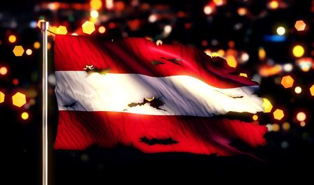 Austria National Flag Torn Burned War Freedom Night 3D photo