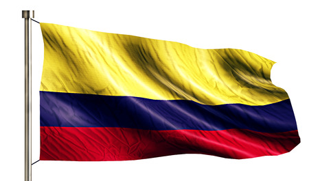 flagged: Colombia National Flag Isolated 3D White Background