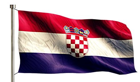 Croatia National Flag Isolated 3D White Background photo
