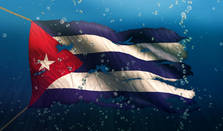 Cuba Under Water Sea Flag National Torn Bubble 3D photo