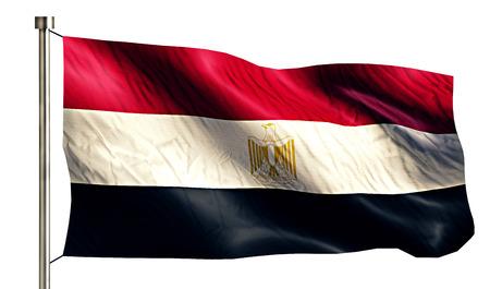 anthem: Egypt National Flag Isolated 3D White Background Stock Photo