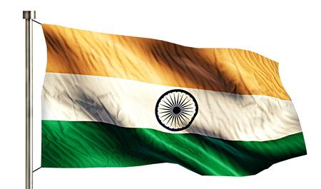 India National Flag Isolated 3D White Background photo
