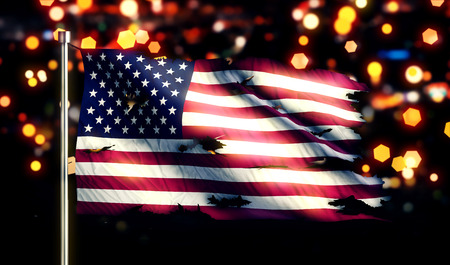 USA America National Flag Torn Burned War Freedom Night 3D