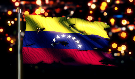 Venezuela National Flag Torn Burned War Freedom Night 3D photo