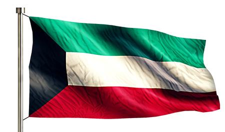 flagged: Kuwait National Flag Isolated 3D White Background