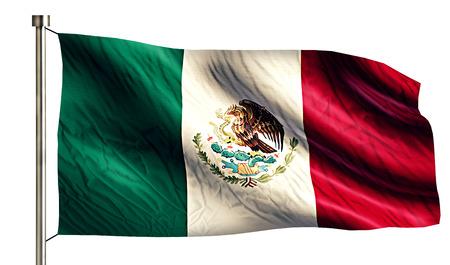 anthem: Mexico National Flag Isolated 3D White Background Stock Photo