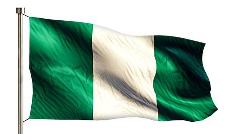 flagged: Nigeria National Flag Isolated 3D White Background Stock Photo
