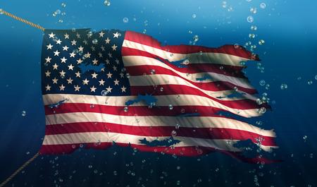 USA America pod vodou Sea Flag National Torn Bubble 3D